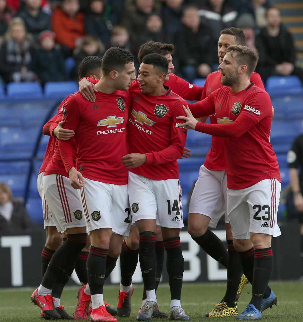 Diogo Dalot celebrates his goal against Tranmere Rovers