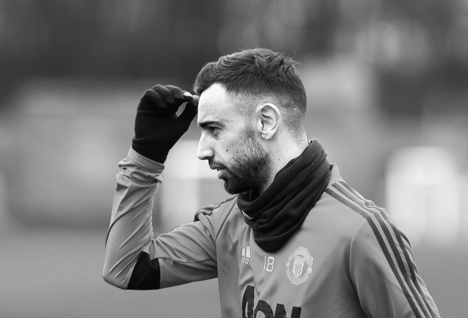 Bruno Fernandes during his first Manchester United training session.