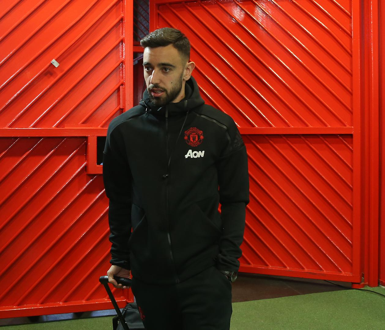 Bruno Fernandes arrives at Old Trafford.