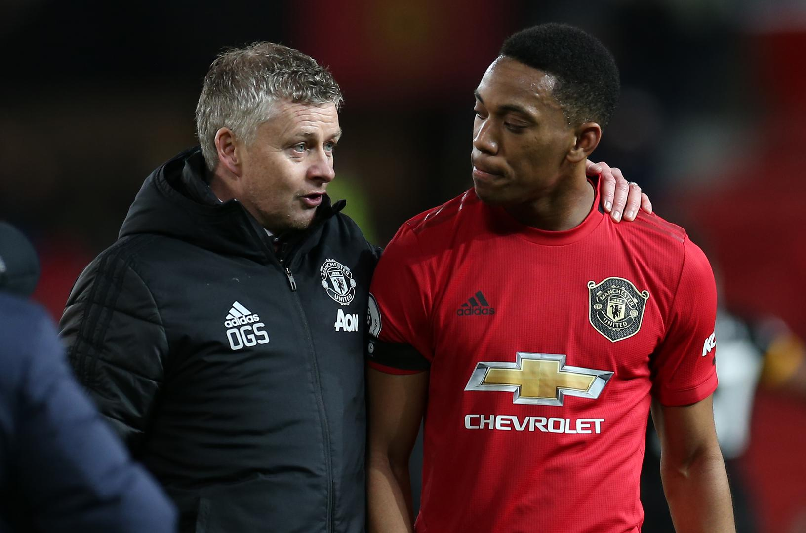 Ole Gunnar Solskjaer with Anthony Martial,