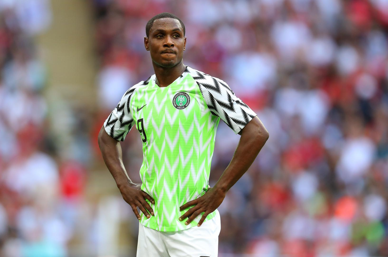 Odion Ighalo plays for Nigeria against England.,