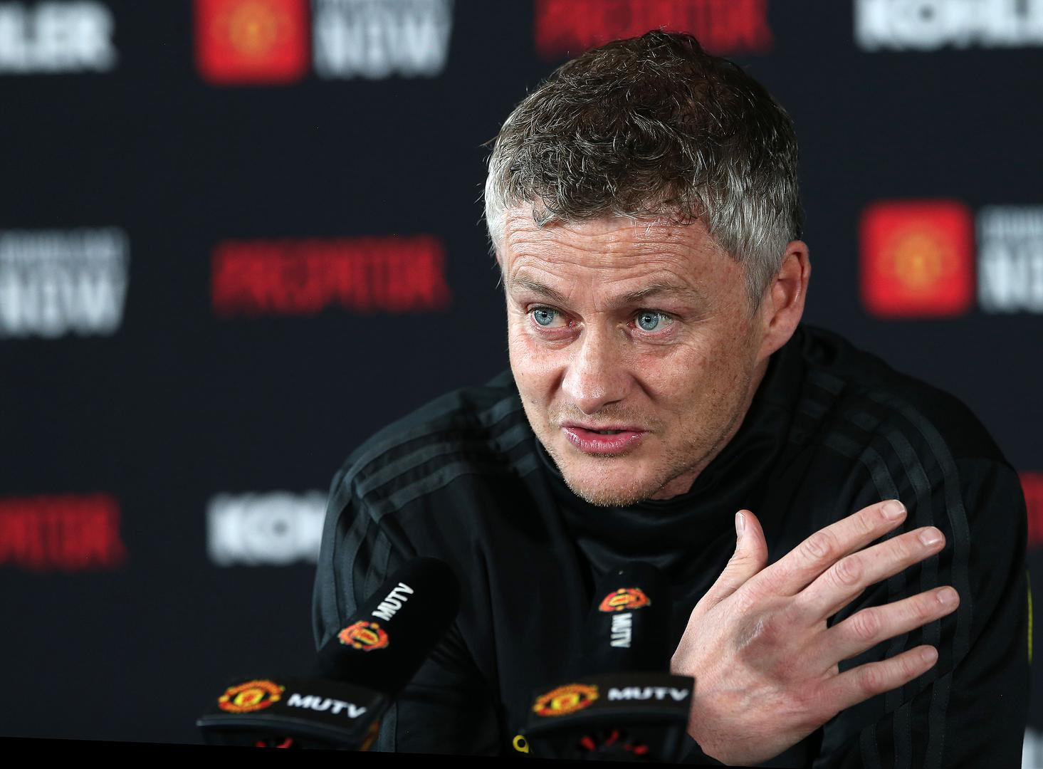 Ole Gunnar Solskjaer speaks at a pre-match press conference at the Aon Training Complex,