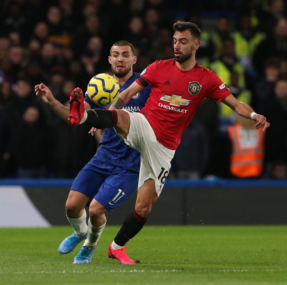 Bruno Fernandes on the ball against Chelsea.,