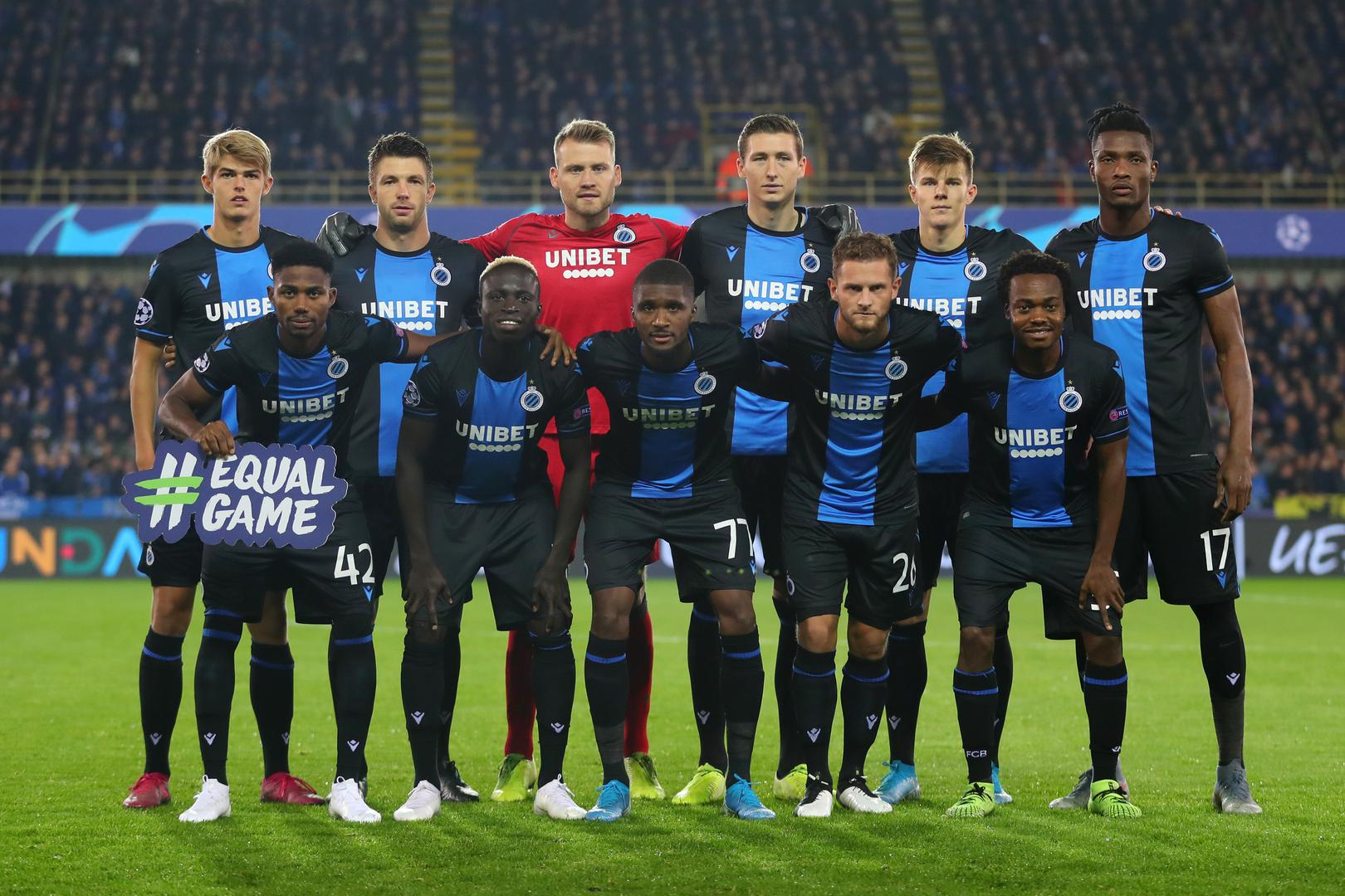 Club Brugge line up before their Champions League match against Paris Saint-Germain in 2019.