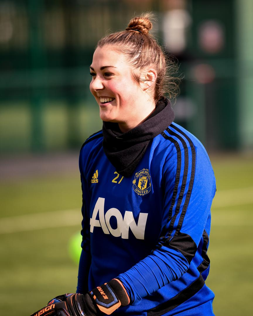 Mary Earps during a Manchester United Women training session.