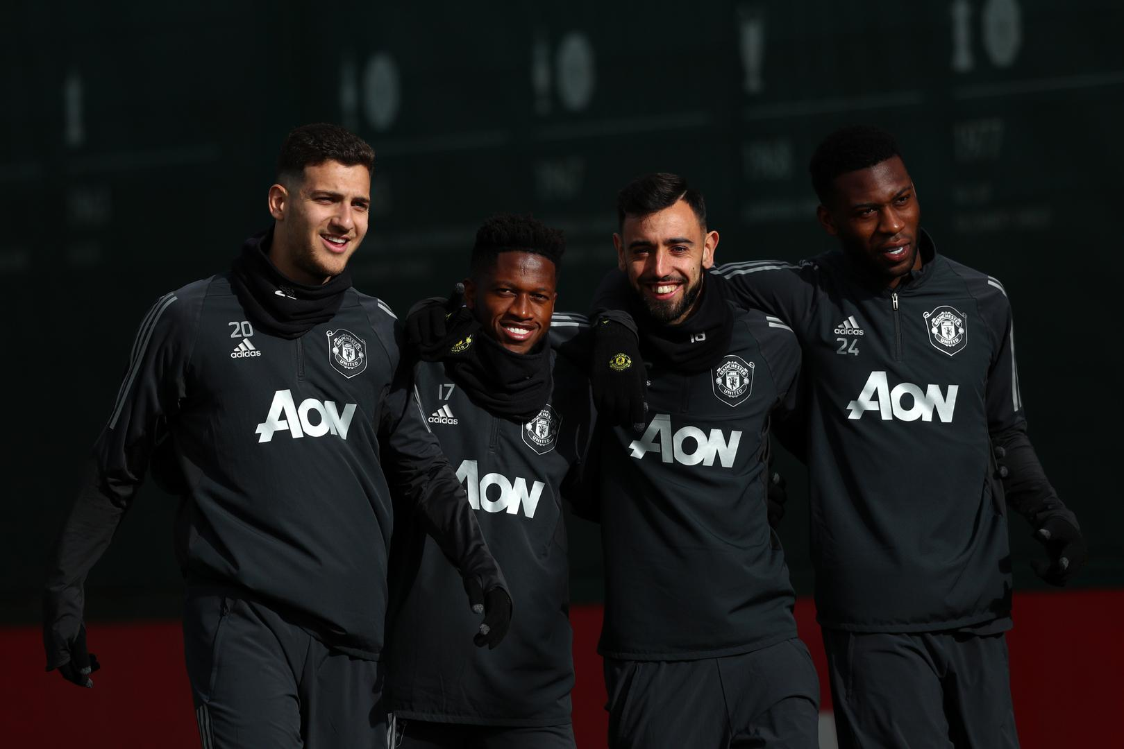 Diogo Dalot, Fred, Bruno Fernandes and Tim Fosu-Mensah at the Aon Training Complex.