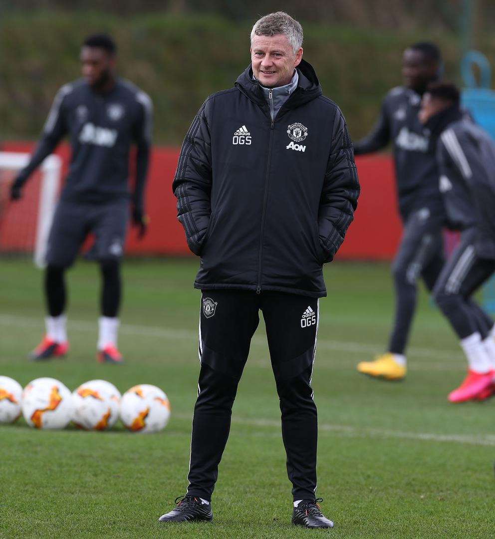 Ole Gunnar Solskjaer on the pitch at the Aon Training Complex