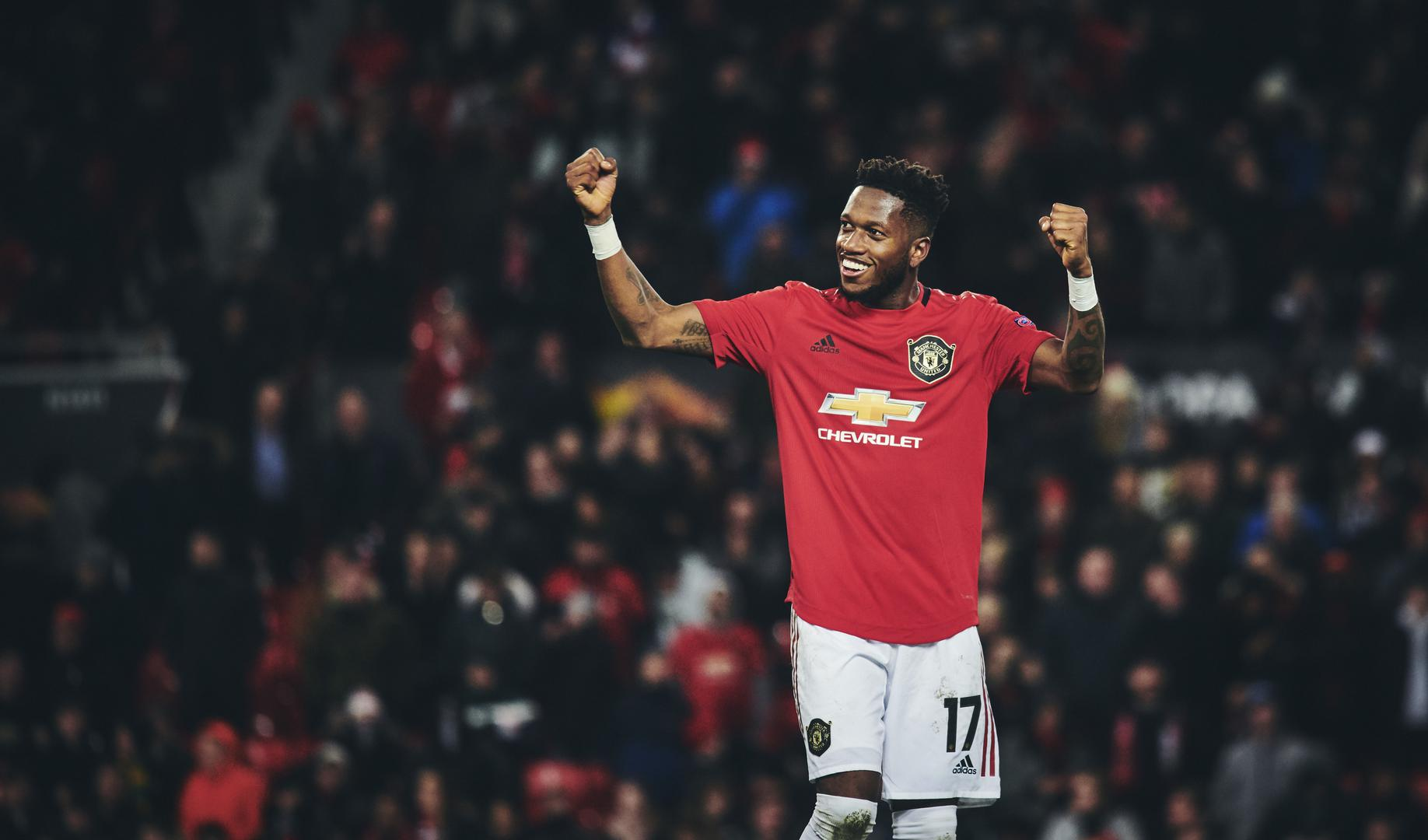 Fred celebrates after Manchester United's 5-0 win over Club Brugge.
