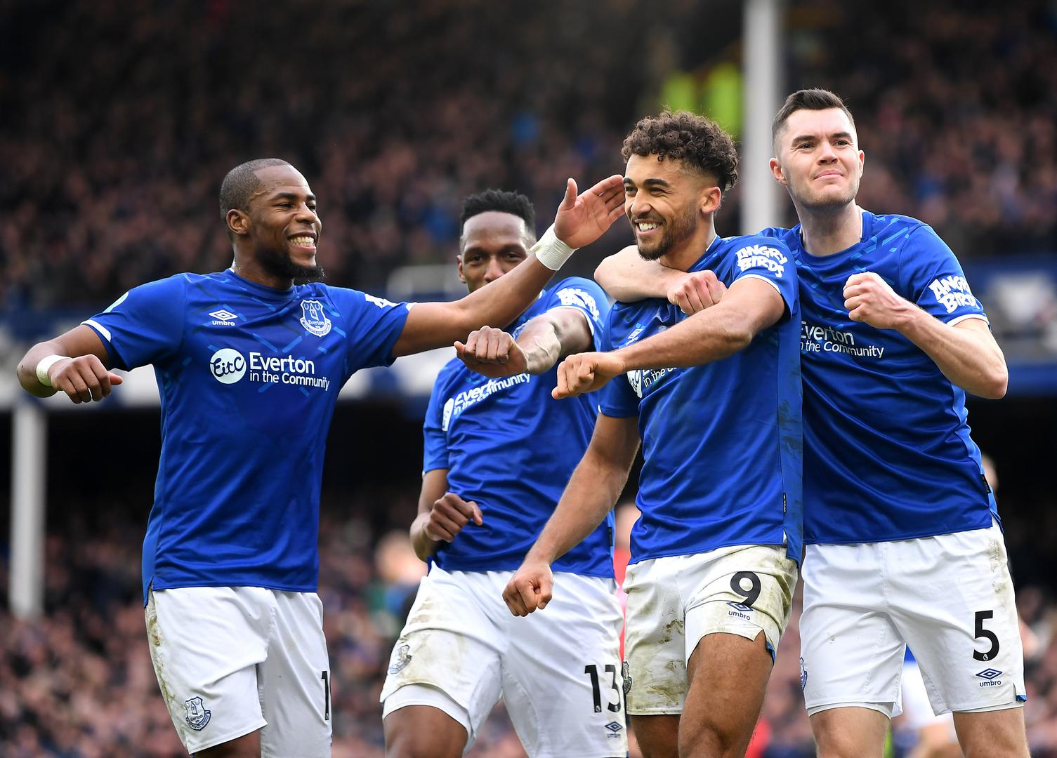 Dominic Calvert-Lewin celebrates his goal against Crystal Palace in the Premier League