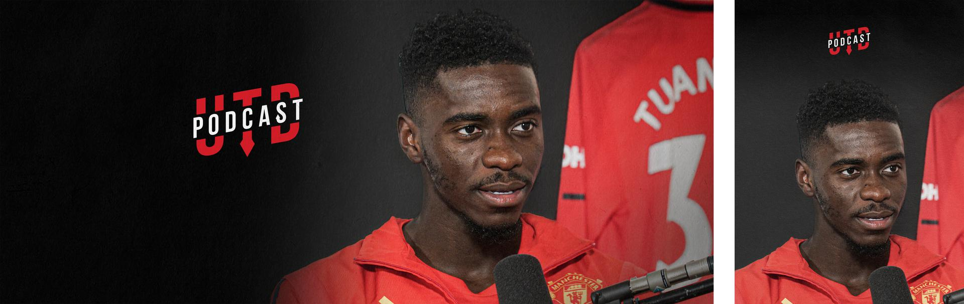 Promotional image of the Axel Tuanzebe episode of UTD Podcast