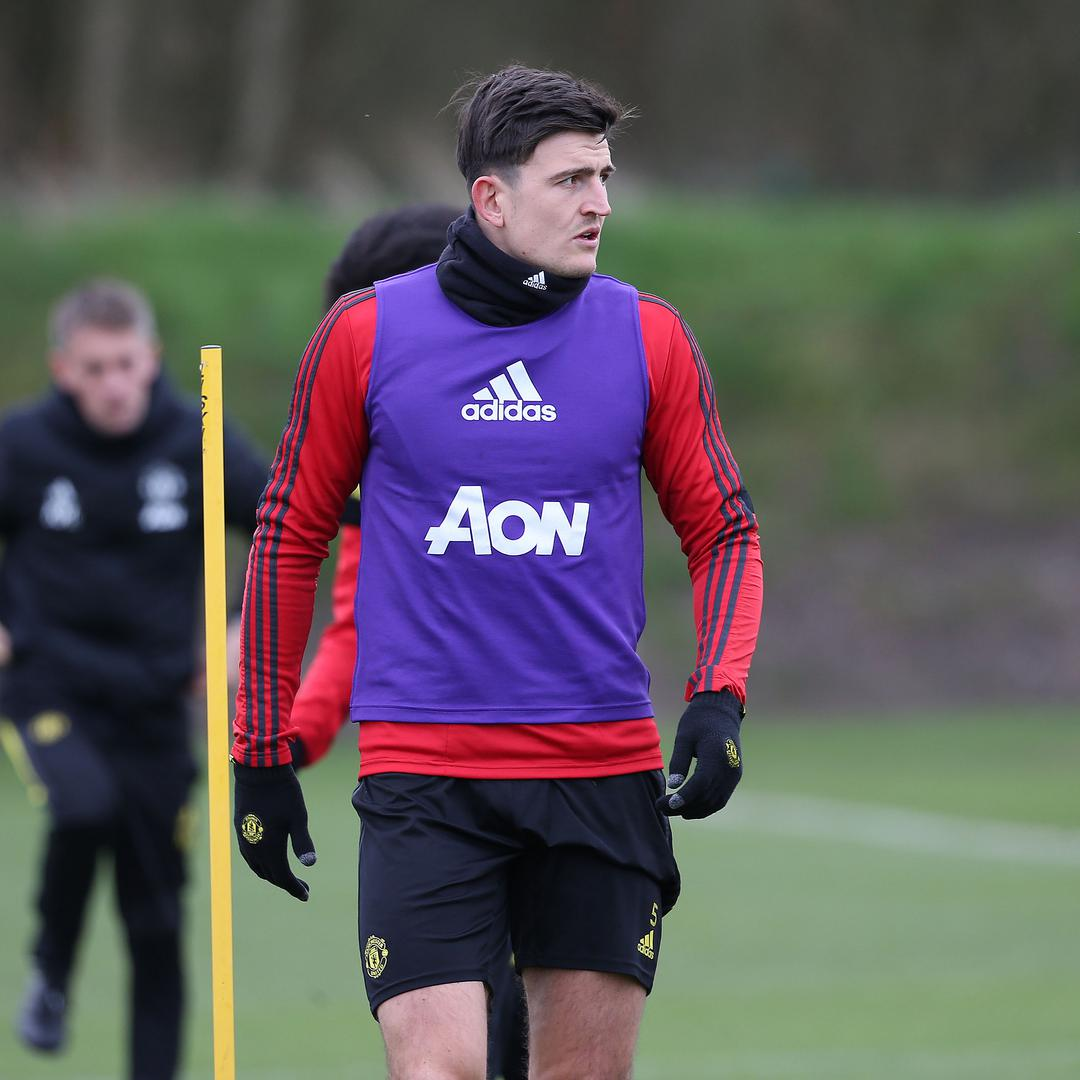 Harry Maguire during a session at the Aon Training Complex