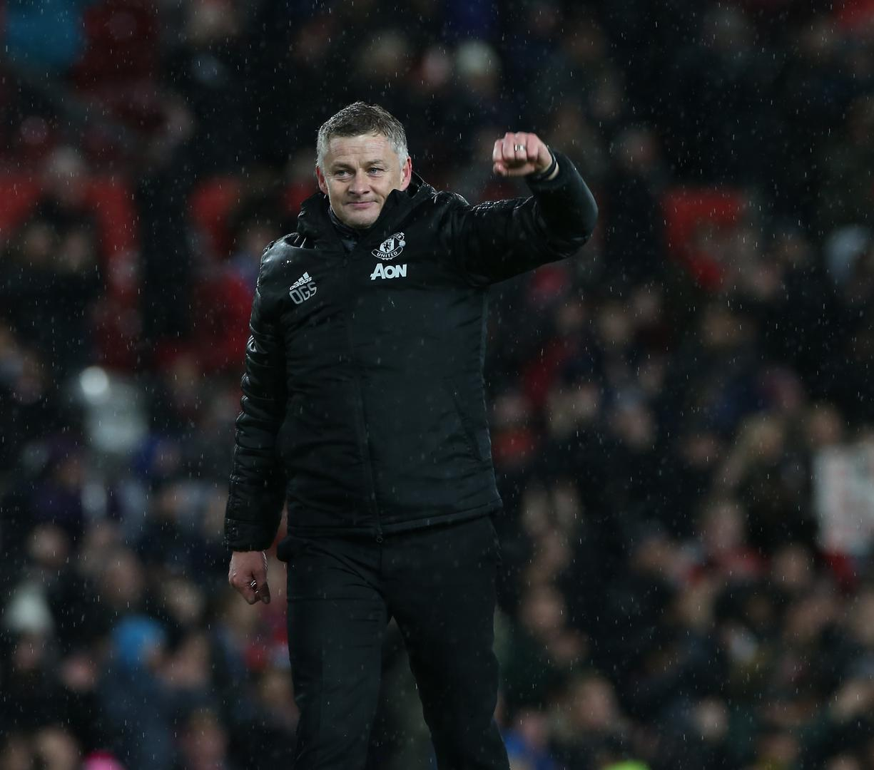 Ole Gunnar Solskjaer celebrates with the fans.
