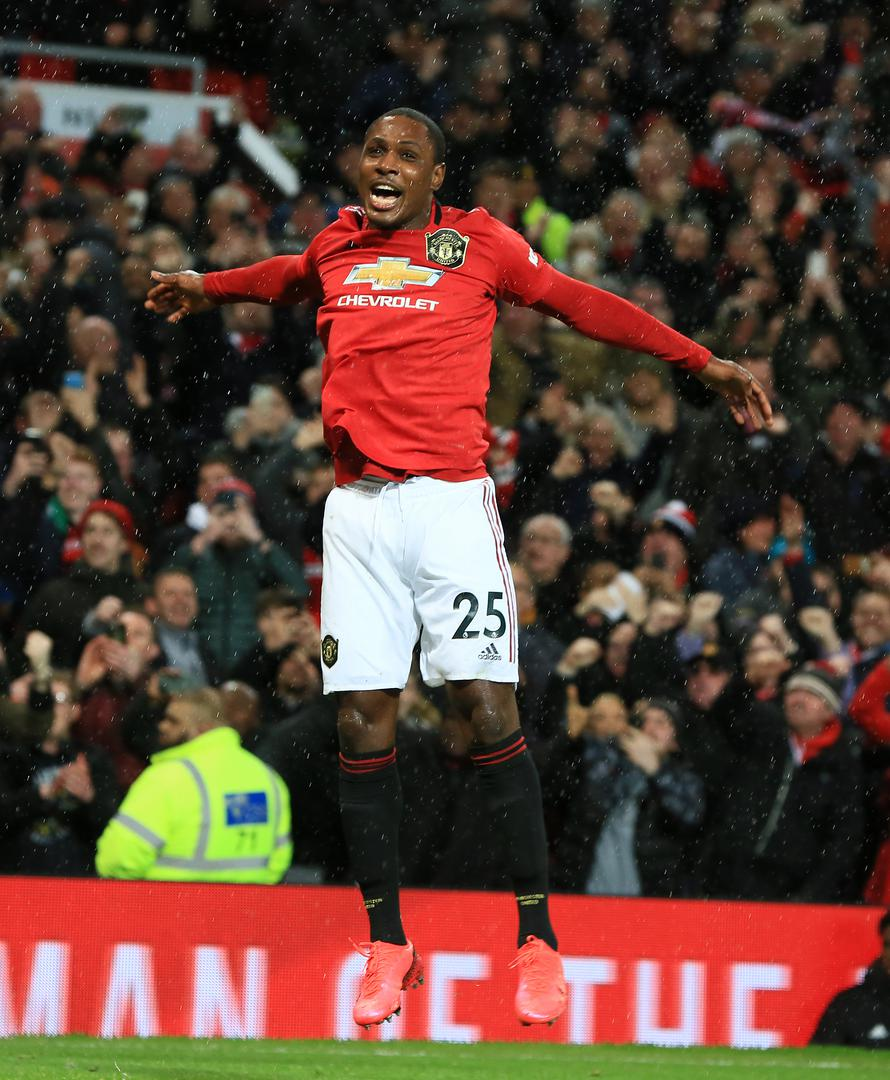 Odion Ighalo celebrates after scoring for Manchester United against Club Brugge at Old Trafford.