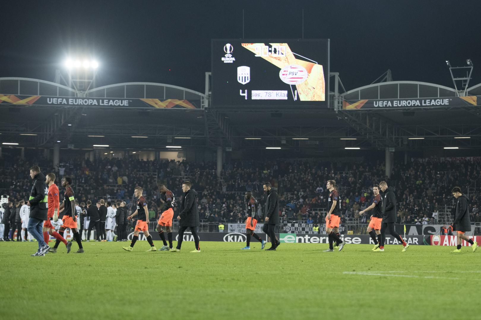 Scenes at the end of LASK's tie with PSV Eindhoven