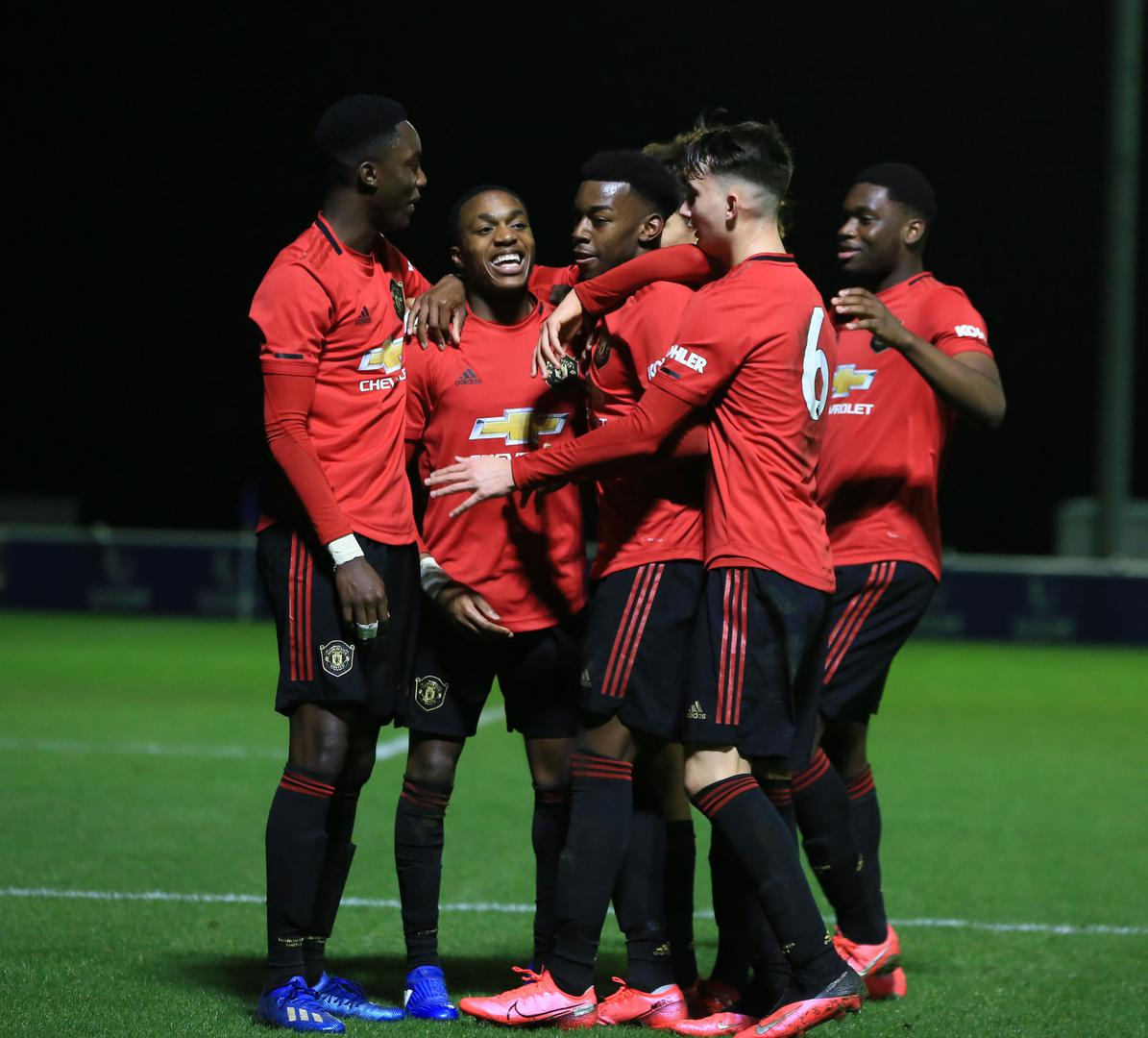 Manchester United Under-18s celebrate a goal against Everton