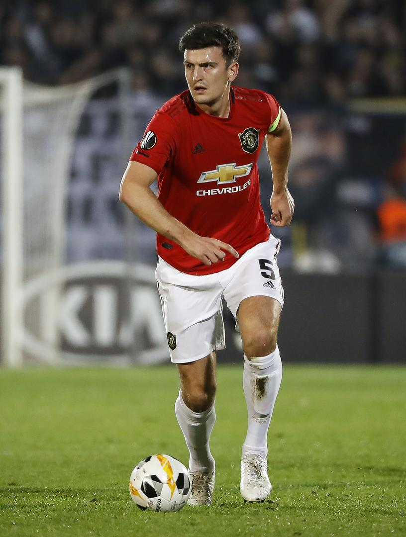 Harry Maguire on the ball against Partizan Belgrade in the Europa League