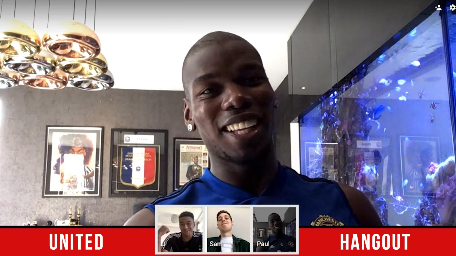 Paul Pogba takes part in a United Hangout video chat,