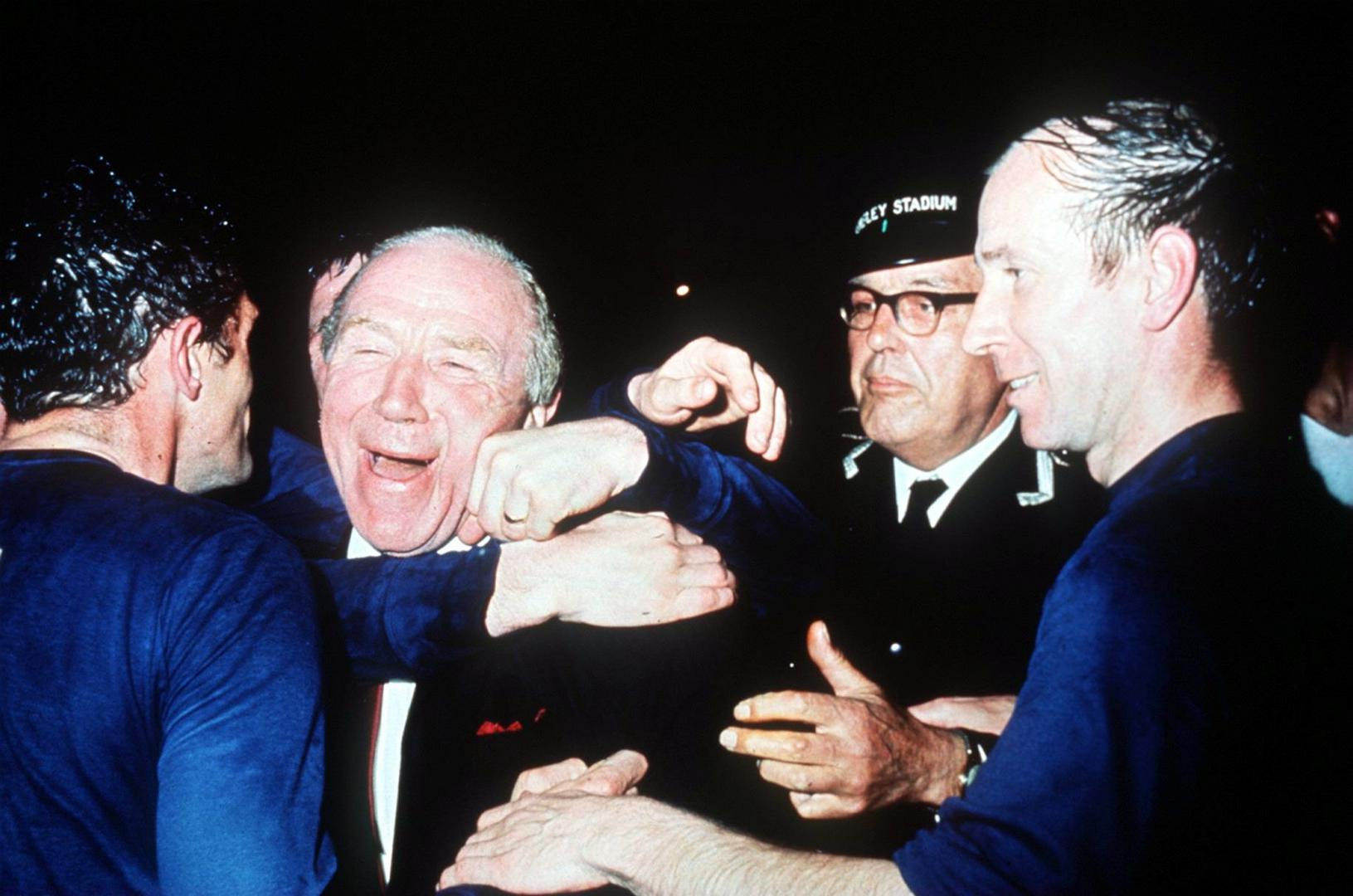Matt Busby and Bobby Charlton after the 1968 triumph.