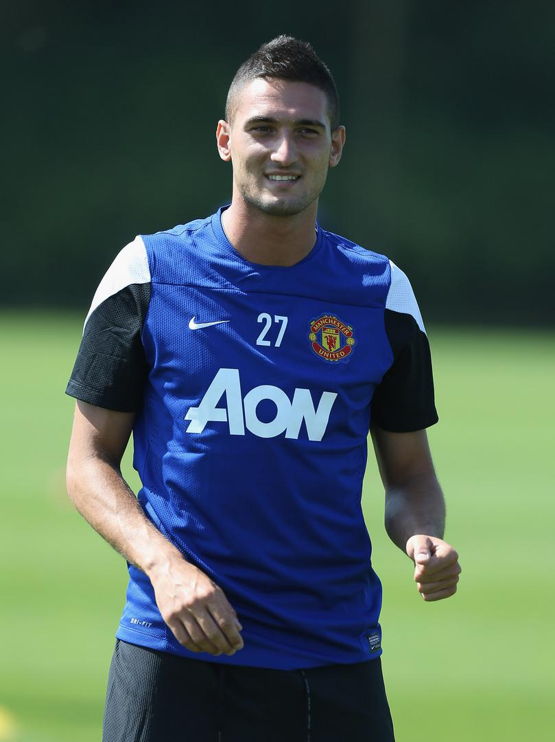 Federico Macheda training for Manchester United.