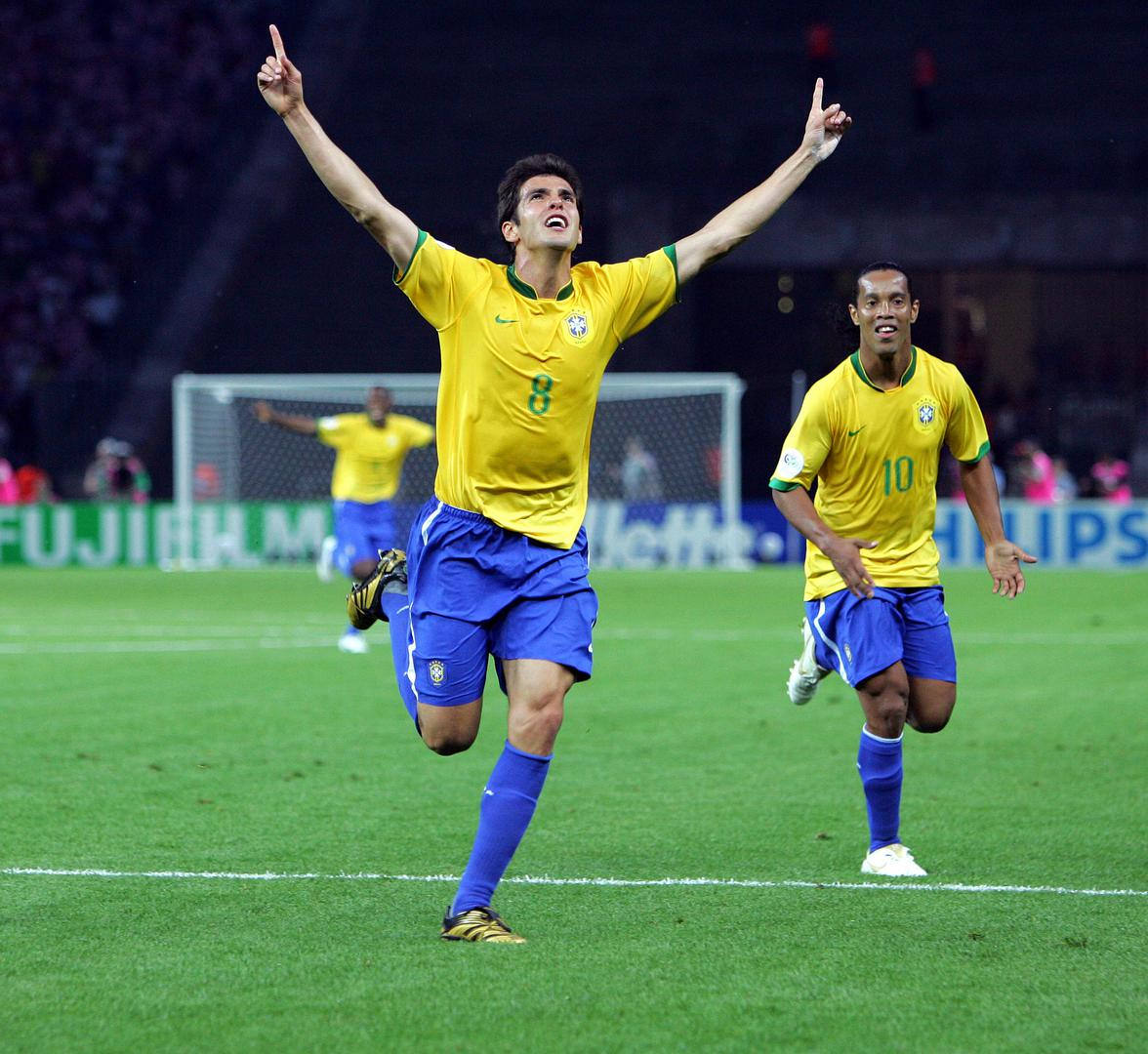 Kaka and Ronaldinho。。 celebrate a goal for Brazil at the 2006 FIFA World Cup