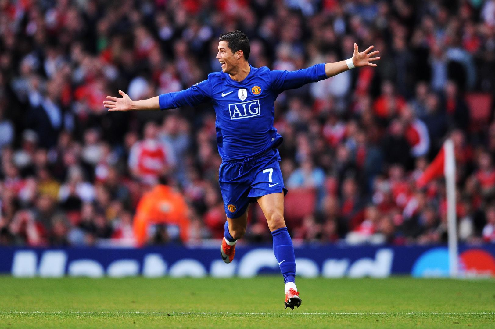Cristiano Ronaldo celebrates against Arsenal.