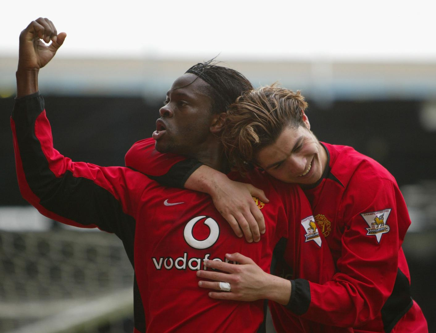 Louis Saha and Cristiano Ronaldo.,