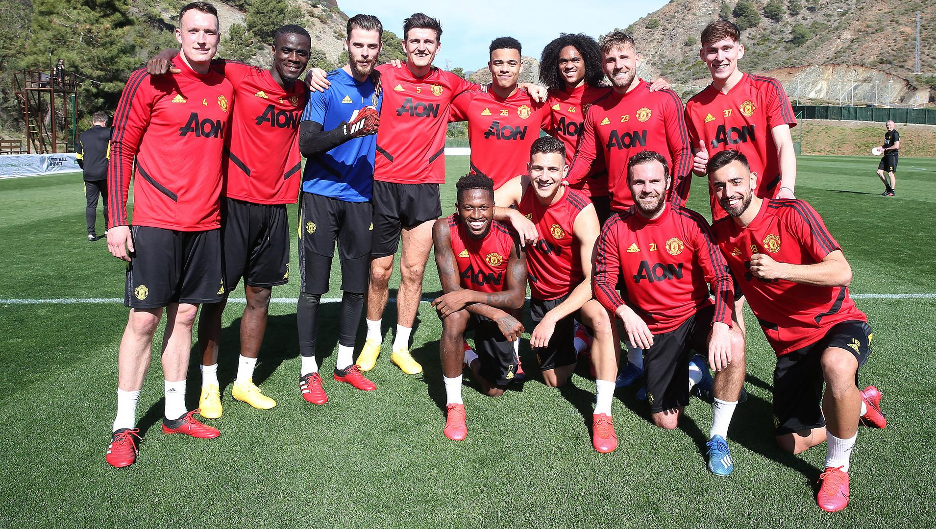Jones, Bailly, De Gea, Maguire, Greenwood, Chong, Shaw, Garner, Fred, Dalot, Mata and Bruno Fernandes training in Marbella