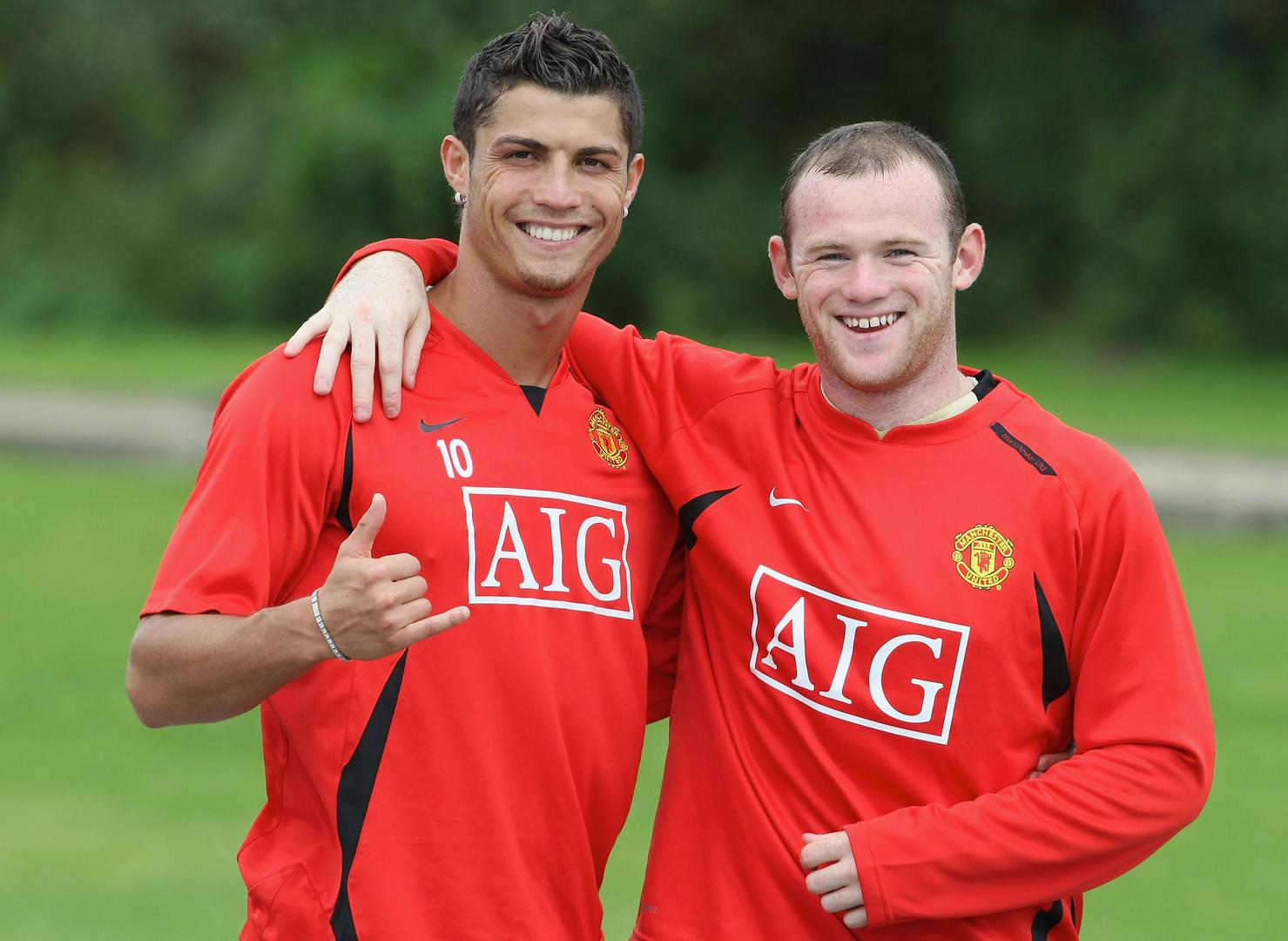 Cristiano Ronaldo and Wayne Rooney in training.