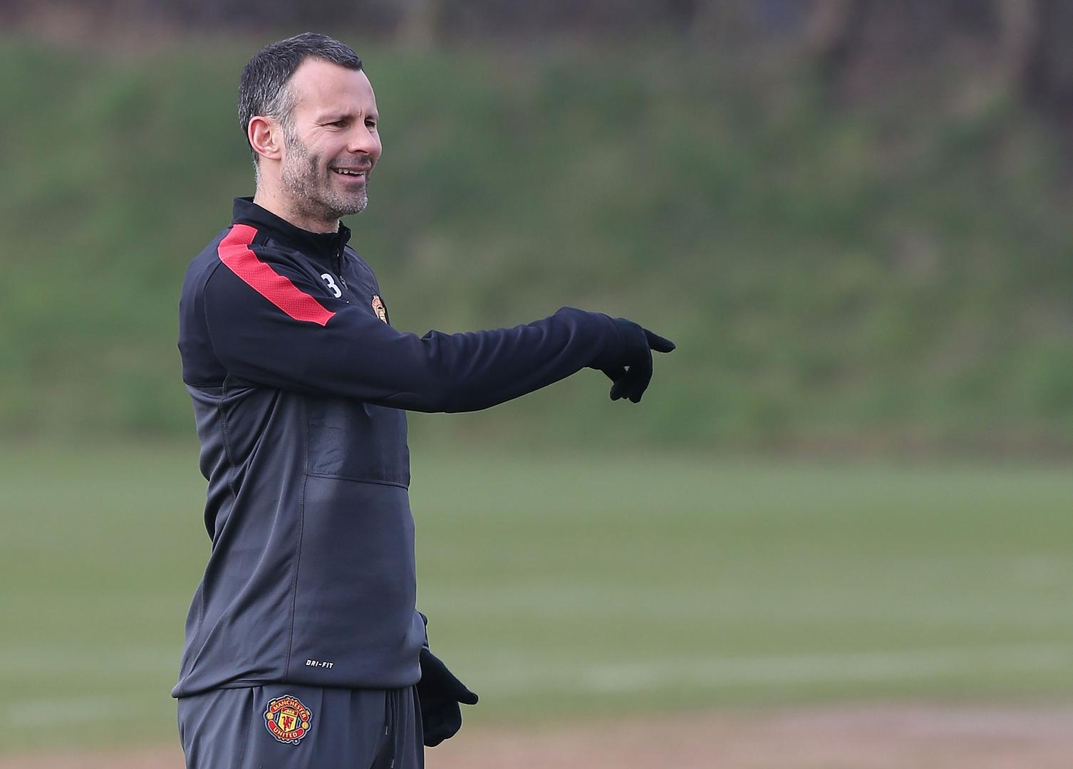 Ryan Giggs in training for Manchester United in 2013.,