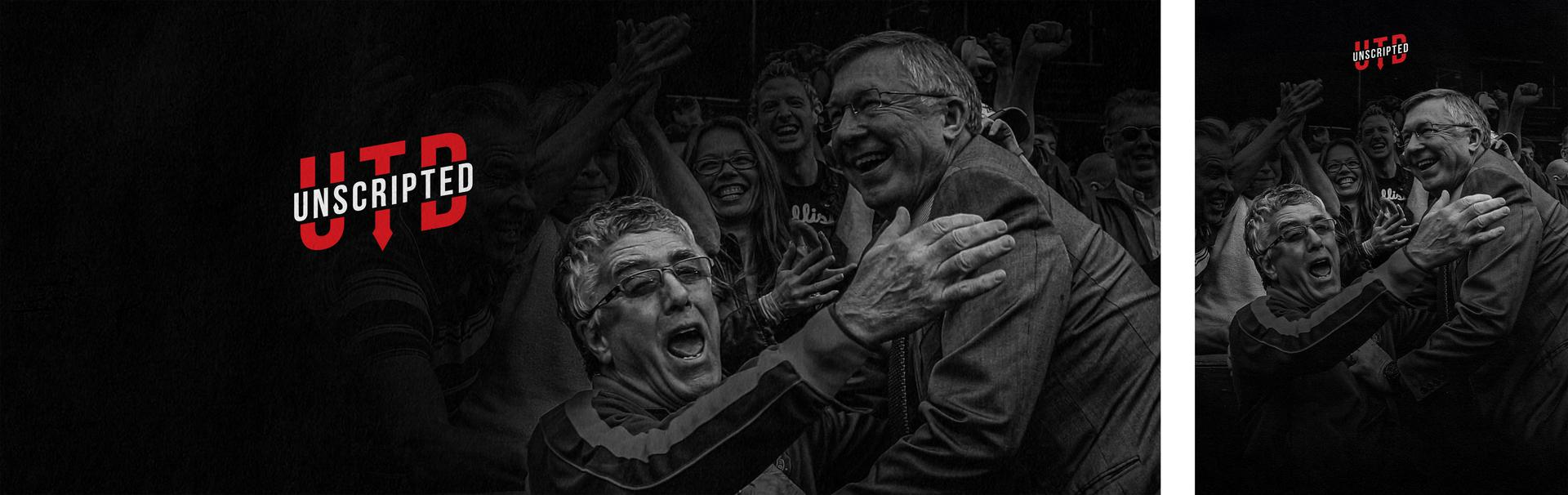 Designed image for UTD Unscripted with Albert Morgan and Sir Alex Ferguson celebrating a goal at Old Trafford