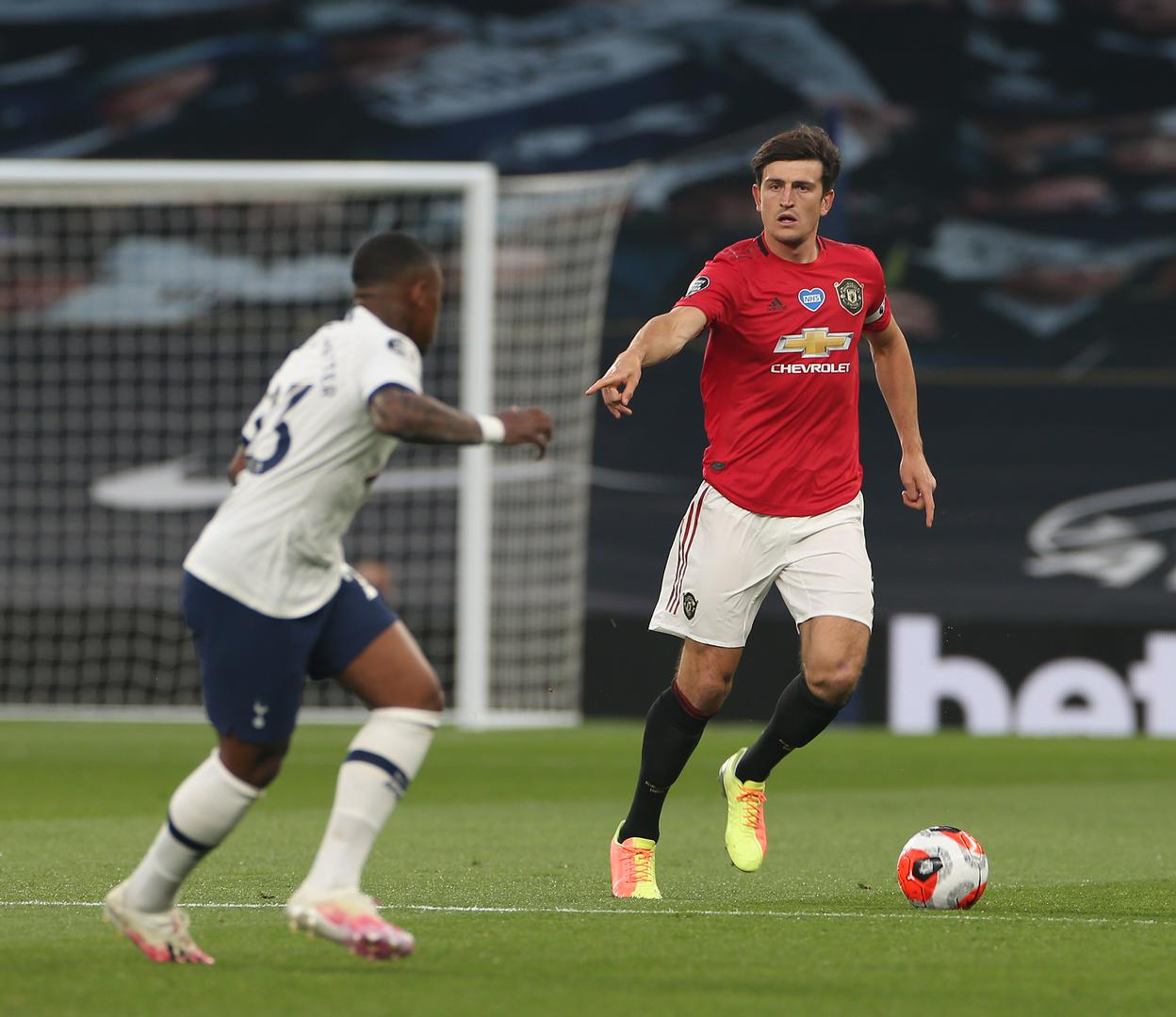Harry Maguire on the ball against Tottenham Hotspur