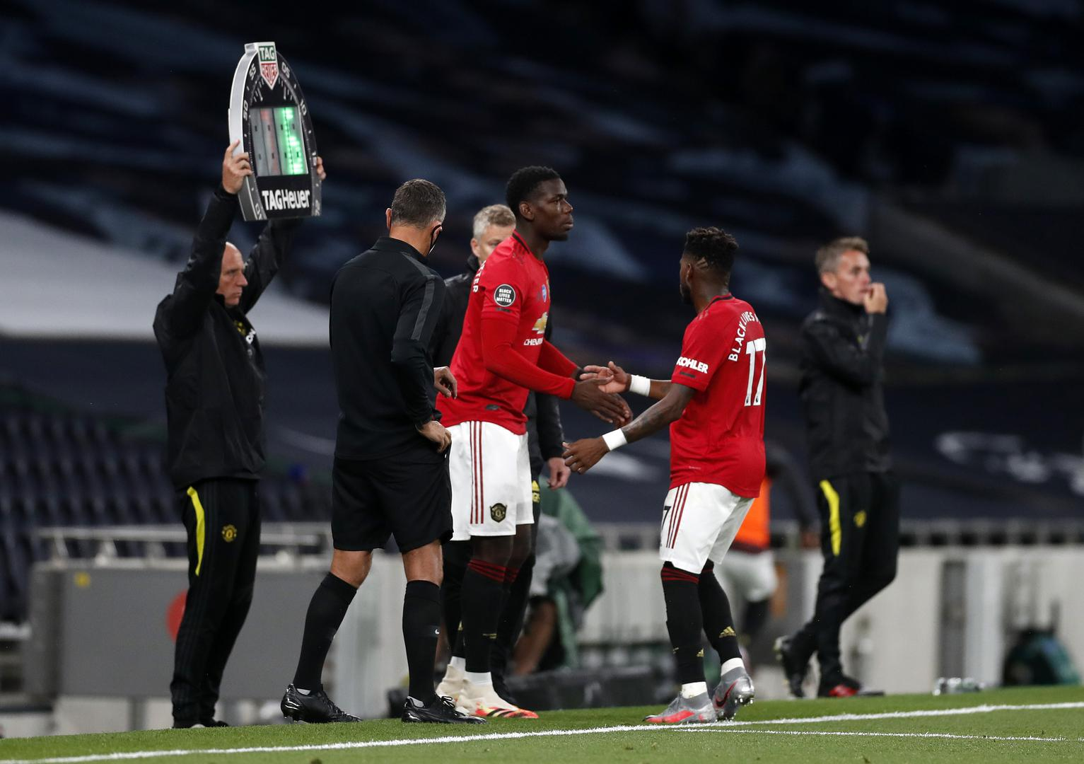 Paul Pogba comes on for Fred as a substitute at Tottenham Hotspur Stadium.