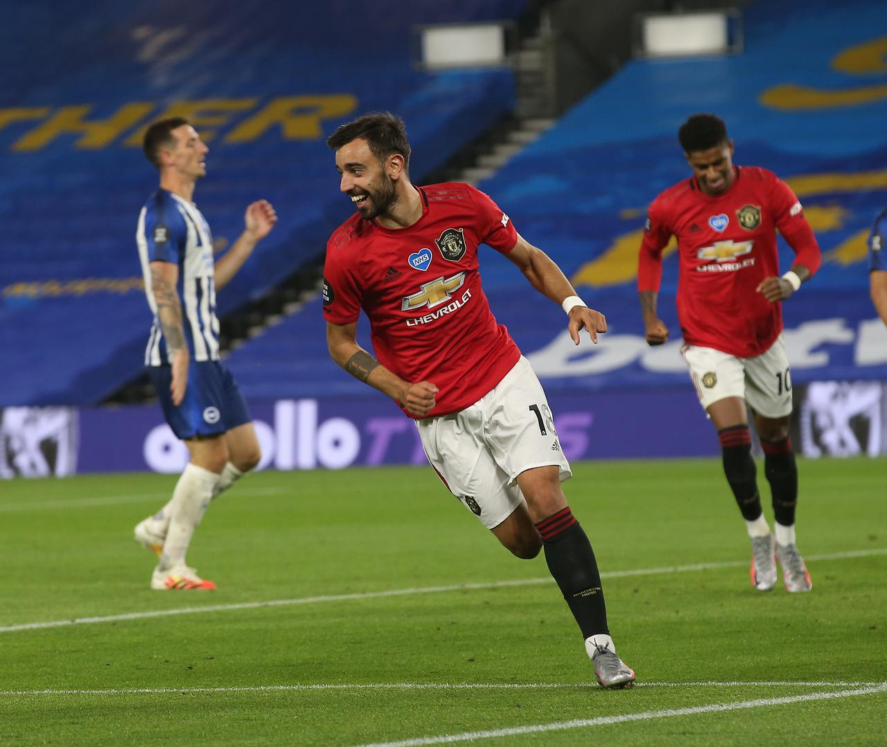 Bruno Fernandes celebrates after scoring against Brighton