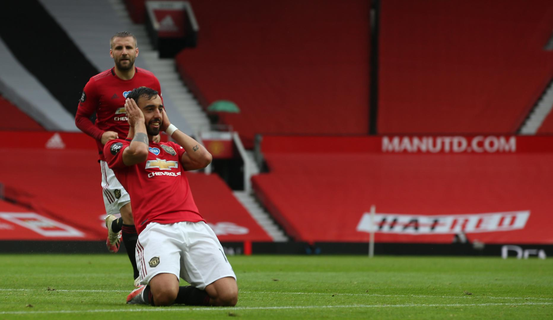Bruno Fernandes celebrates after scoring against Southampton