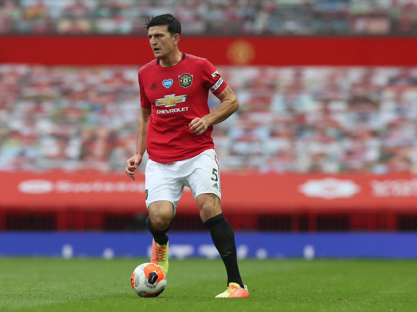 Harry Maguire playing for Manchester United