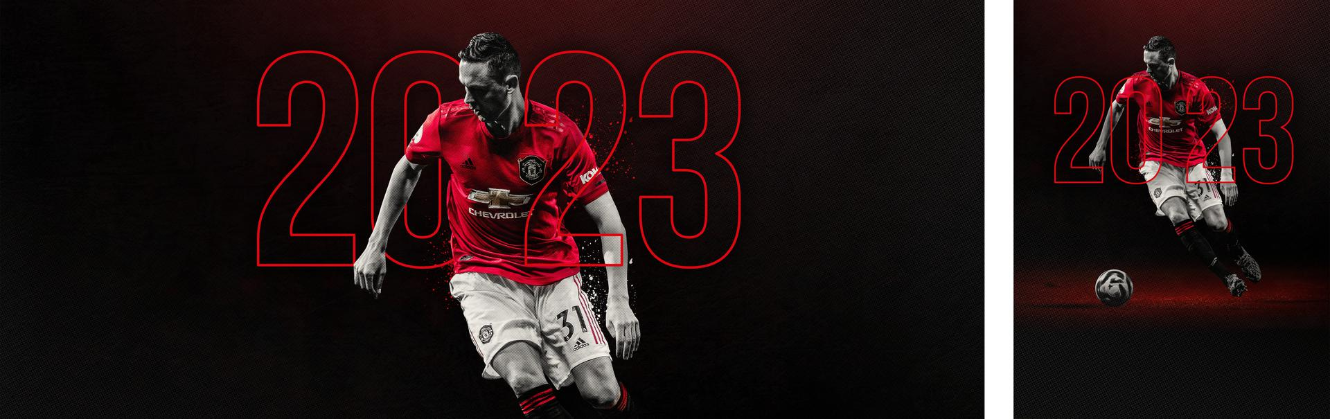 Promotional graphic marking Nemanja Matic's new Manchester United contract announcement to June 2023,