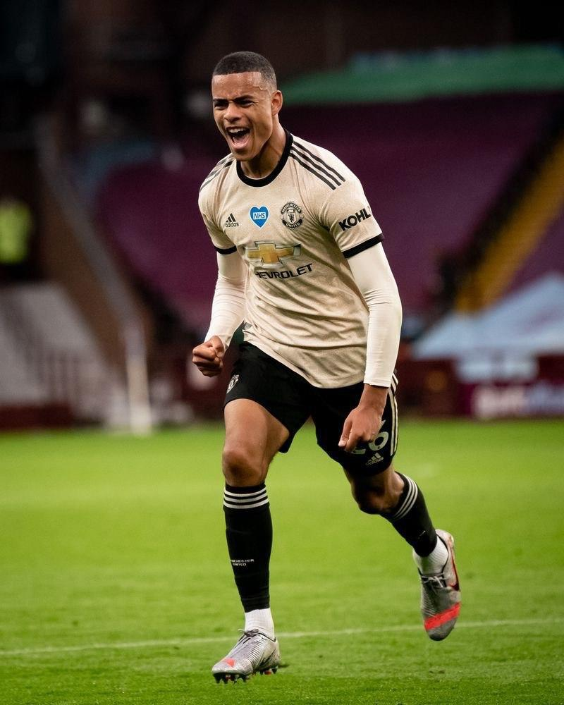 Mason Greenwood celebrates scoring against Aston Villa