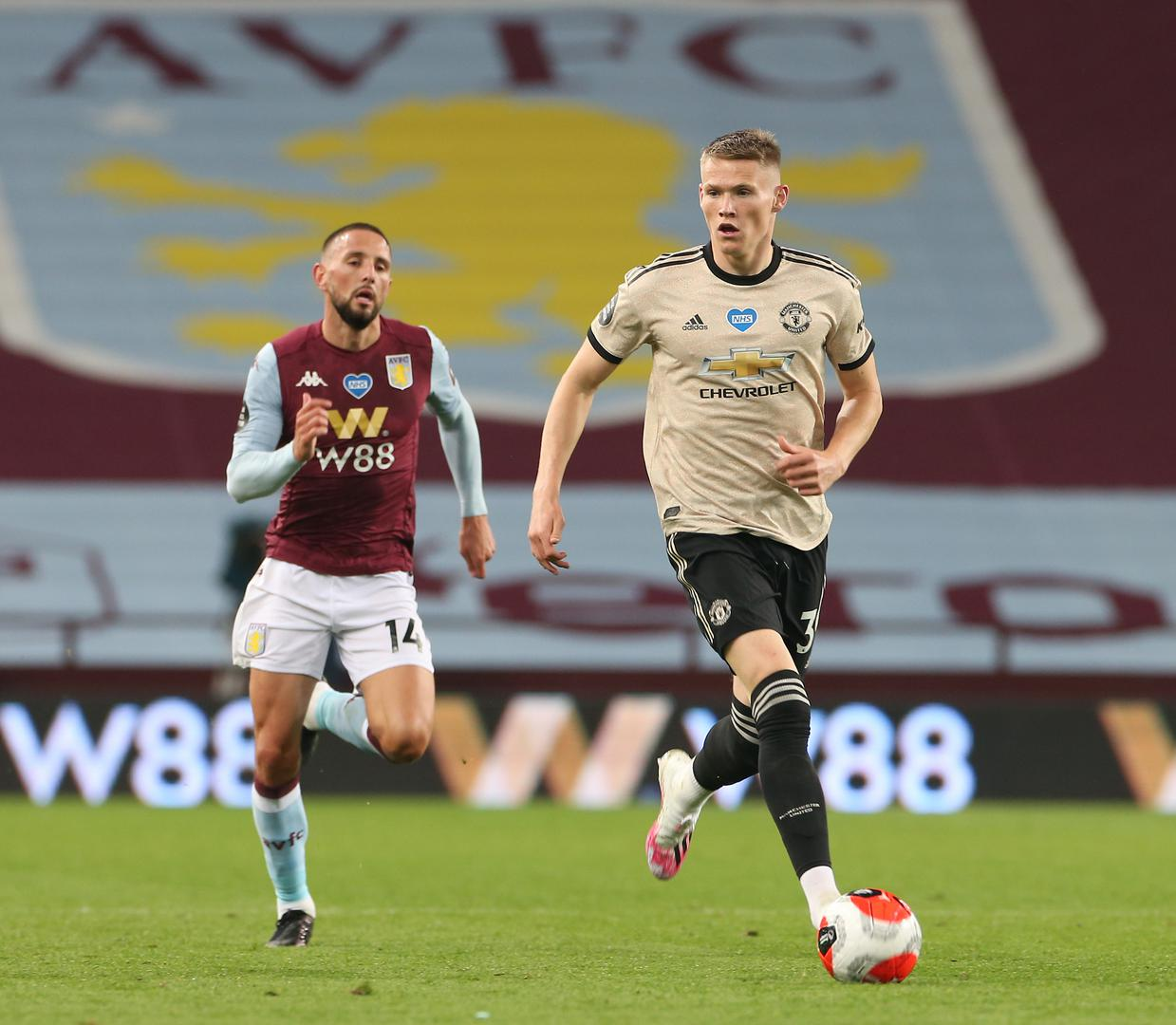 Scott McTominay in action against Aston Villa at Villa Park,