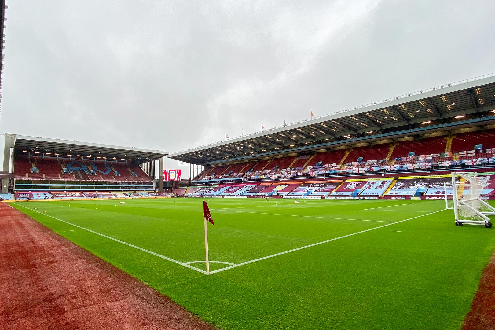 A view of the pitch at an empty Villa Park,