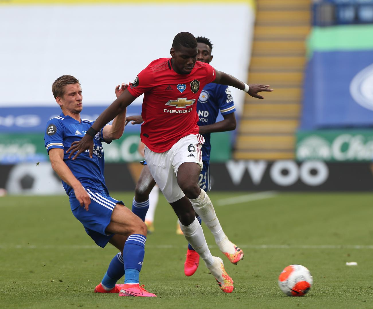 Paul Pogba in action for Man Utd against Leicester.