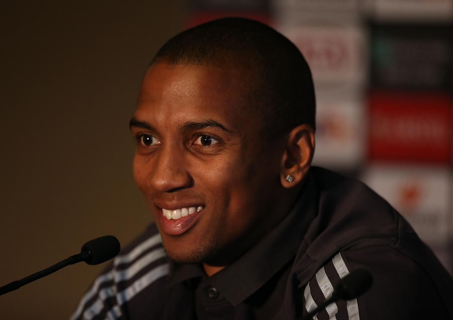 Ashley Young speaking during Manchester United's press conference.