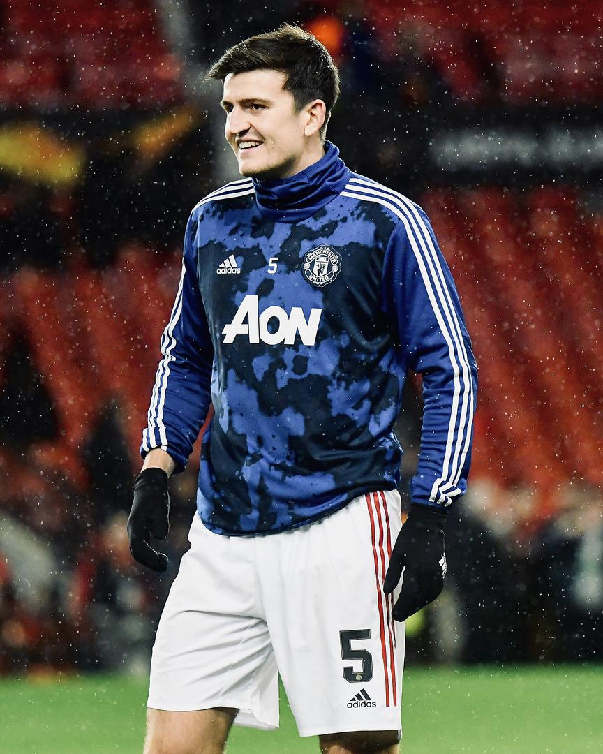 Harry Maguire in the warm-up for United.。。