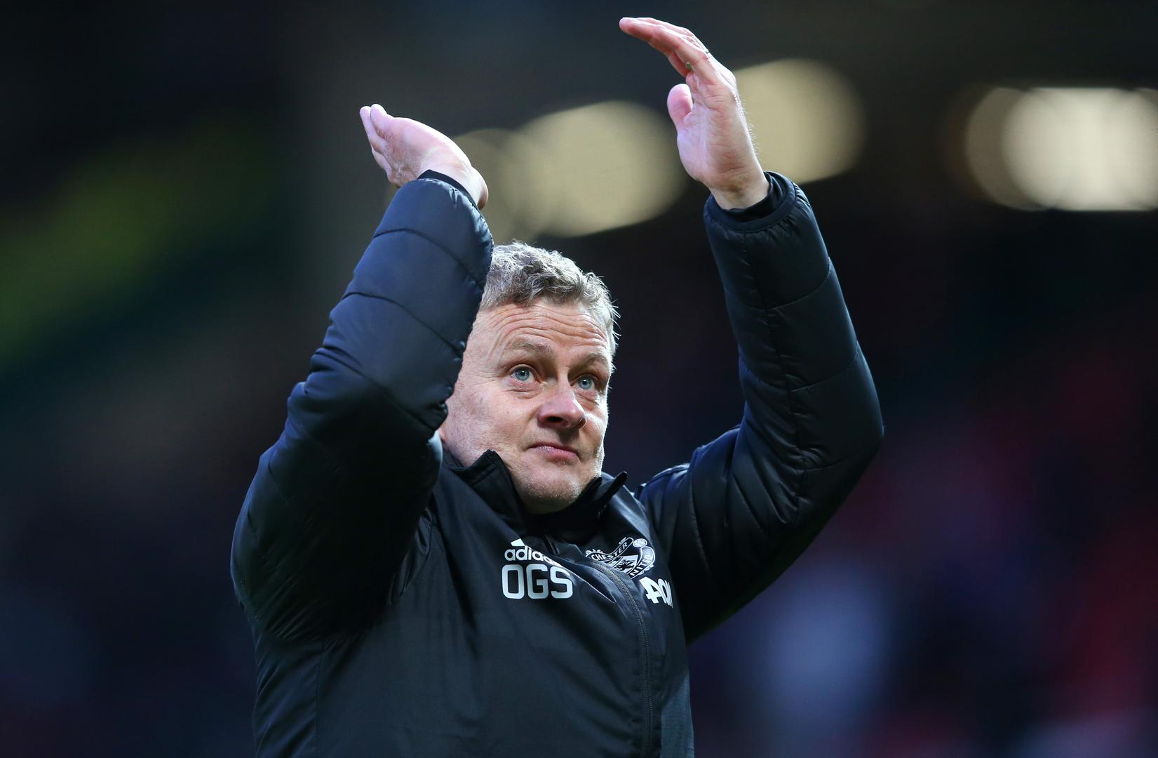 Ole Gunnar Solskjaer claps the Manchester United fans at Old Trafford