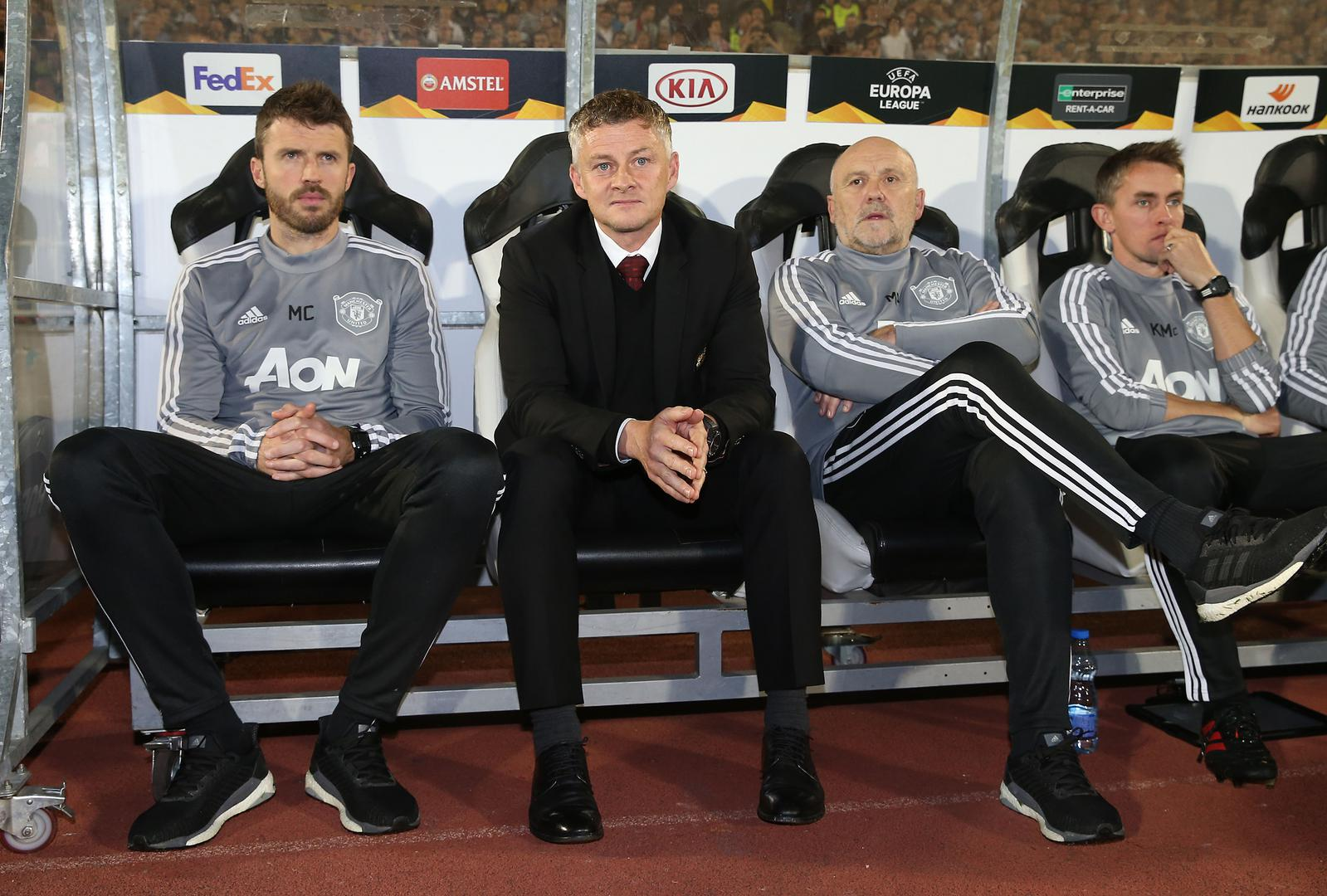 Ole Gunnar Solskjaer and his assistants in Belgrade.