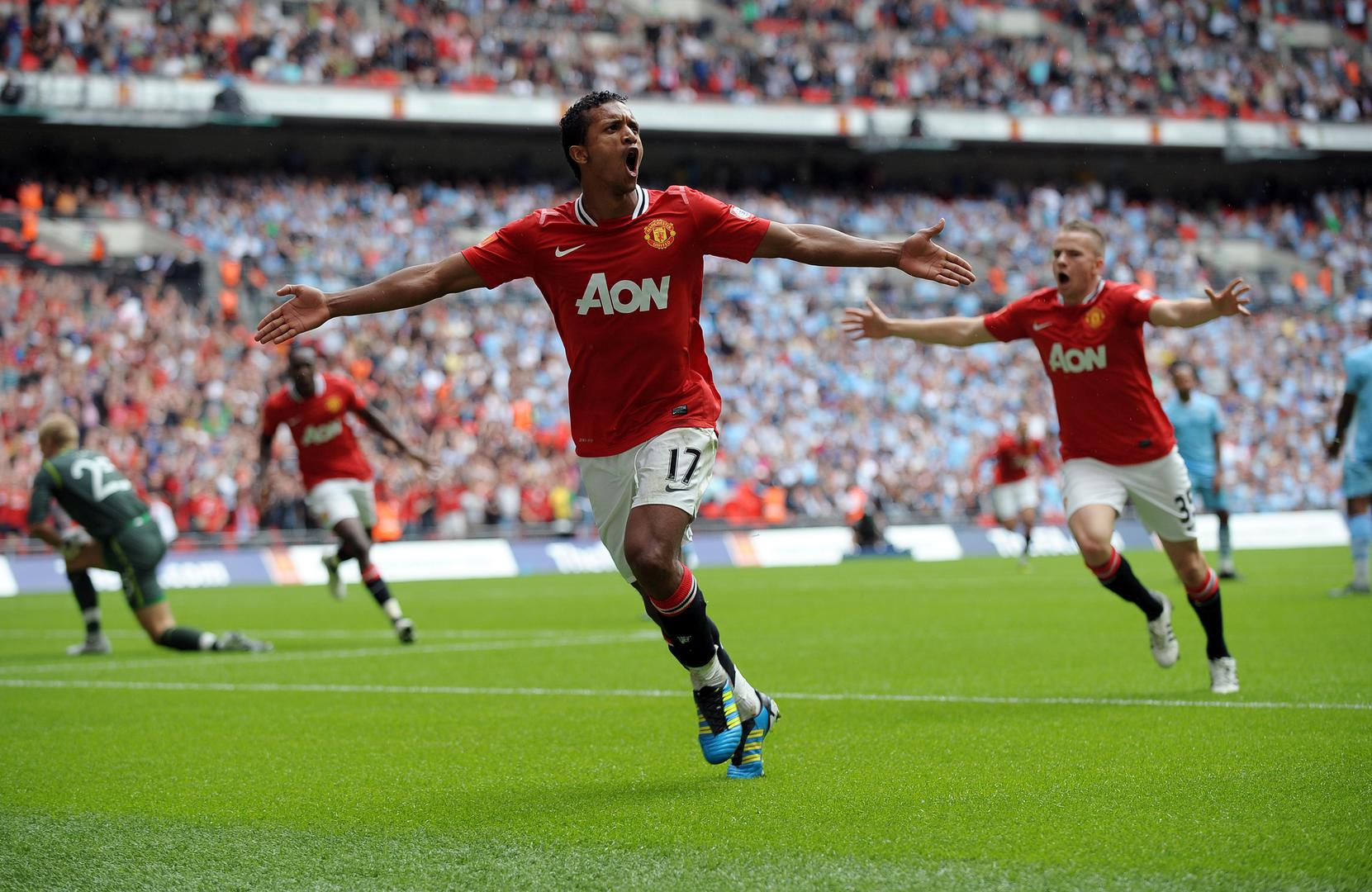 Nani scores for Manchester United against Manchester City in the 2011 Community Shield.