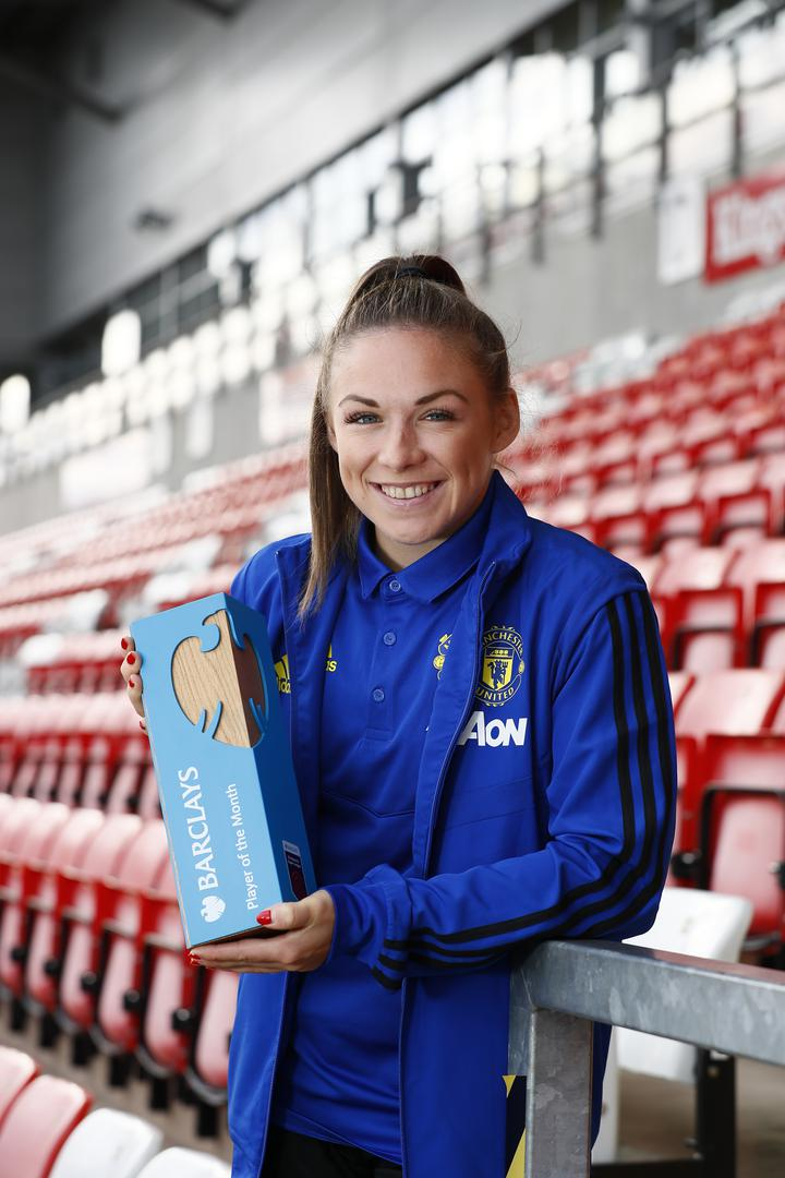 Kirsty Hanson with her Player of the Month trophy.