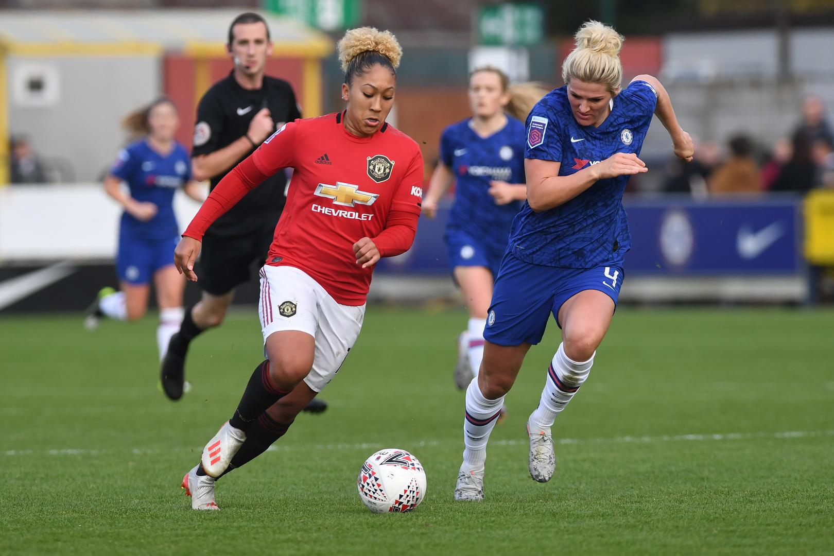 Lauren James in action with Millie Bright.