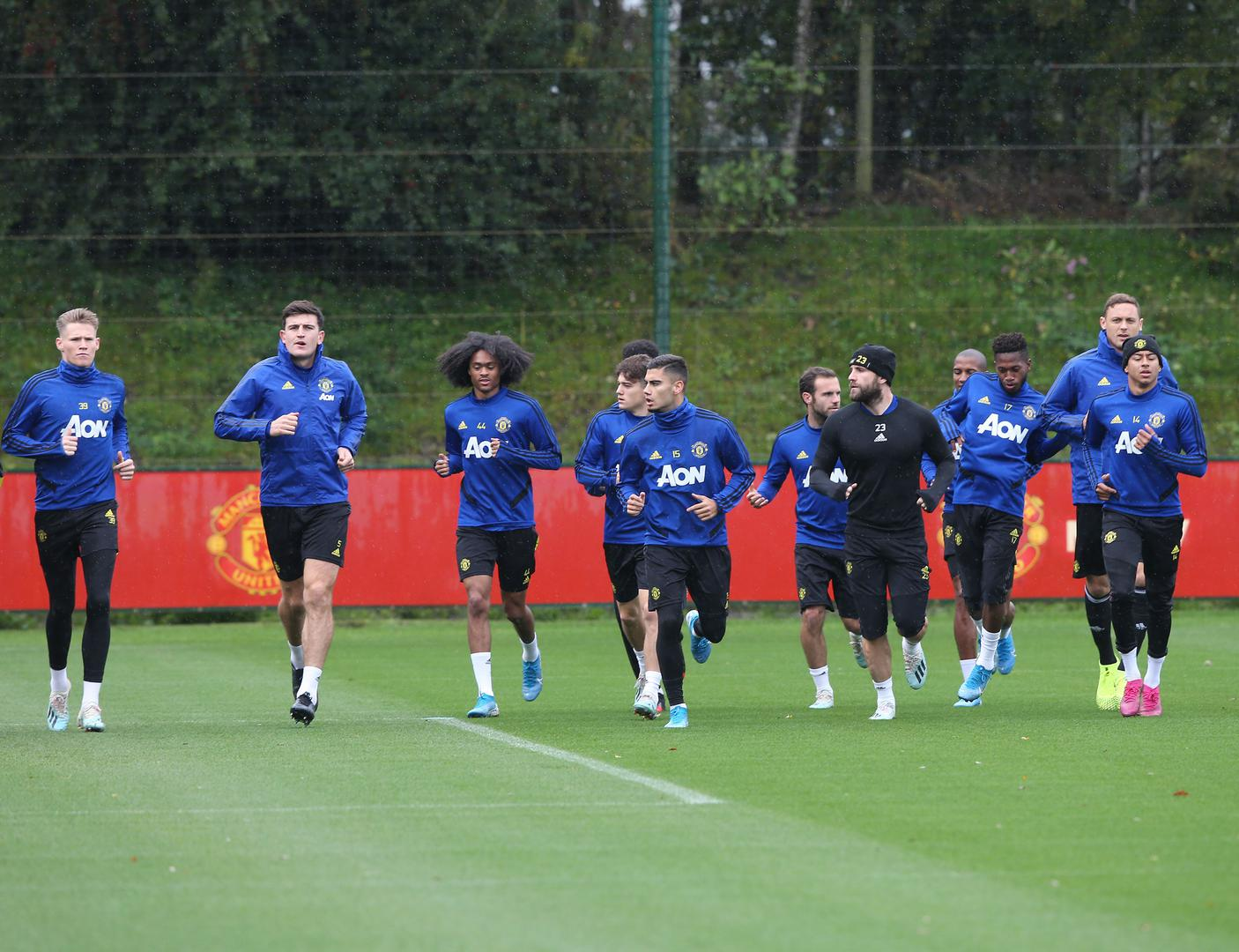 United players at the Aon Training Complex.