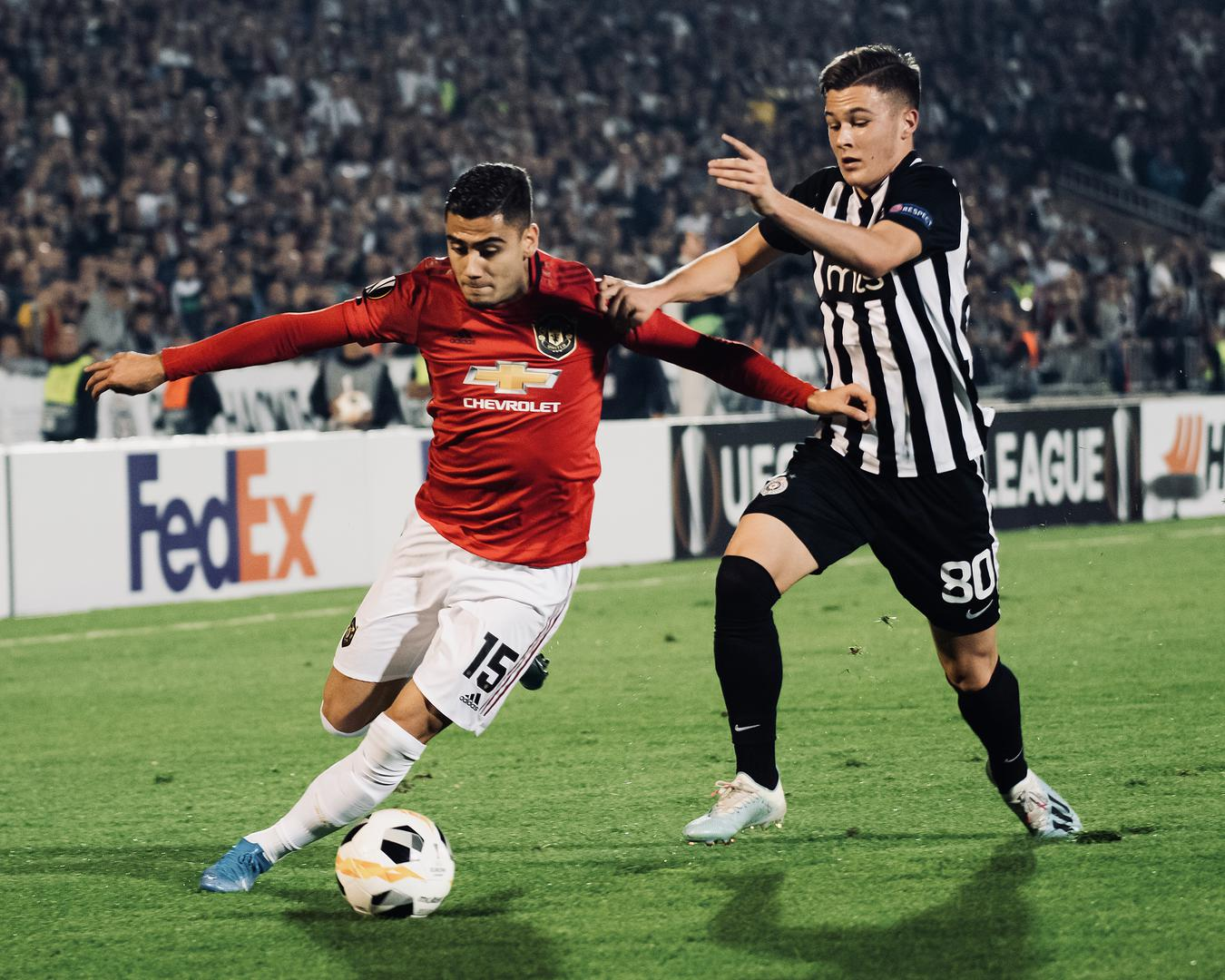 Andreas Pereira in action for Manchester United against Partizan Belgrade