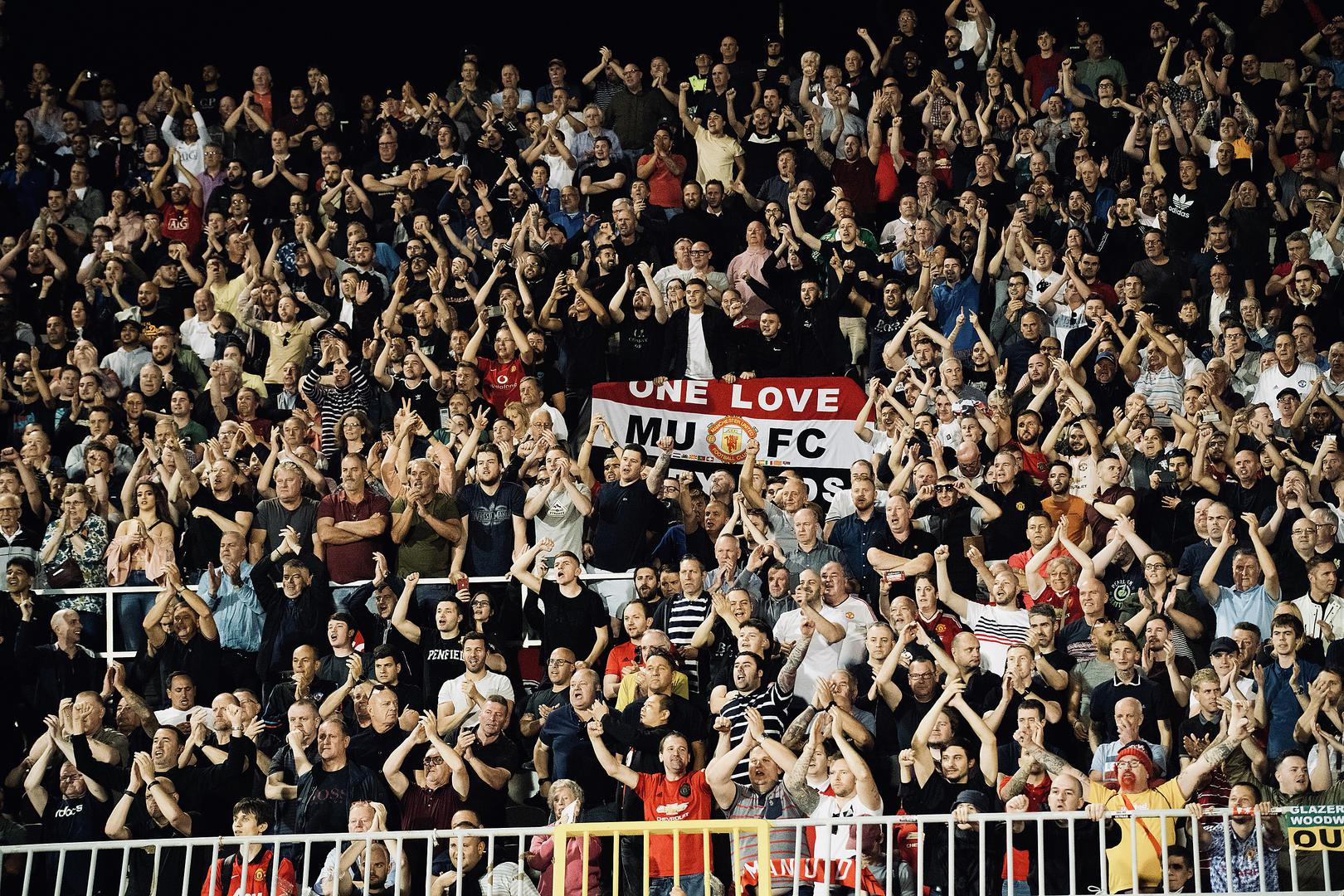 Manchester United fans in the crowd at the Europa League away game against Partizan Belgrade